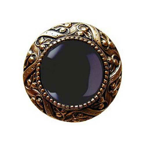 Notting Hill Decorative Hardware 24 K Gold Plate Victorian Jeweled Knob with Onxy Stone