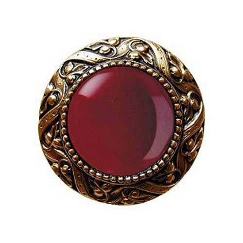 24 K Gold Plated Victorian Jeweled Knob with Red Carnelian Stone