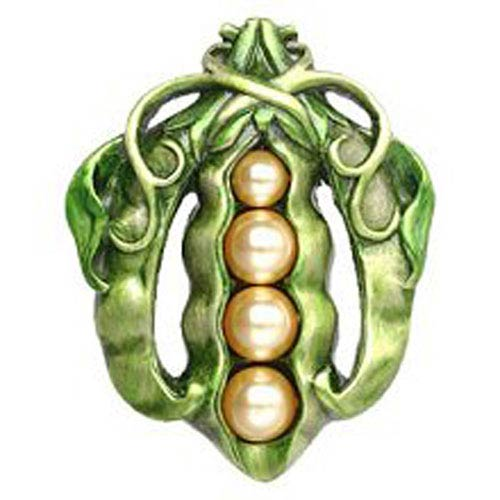 Antique Pewter Pearly Peapod Knob Hand-Tinted