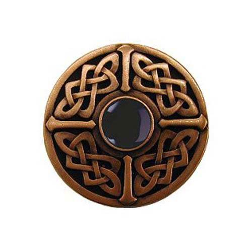 Antique Copper Onyx Celtic Jewel Knob