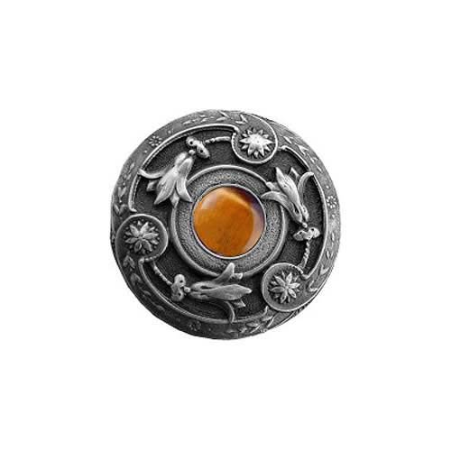 Antique Pewter Tiger Eye Jeweled Lily Knob