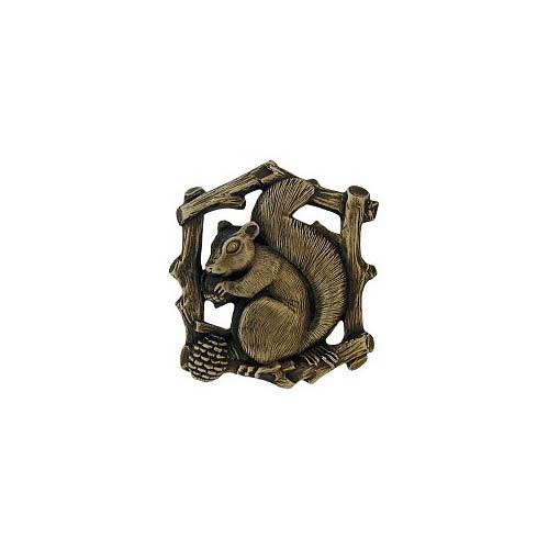Antique Brass Grey Squirrel Knob-Right