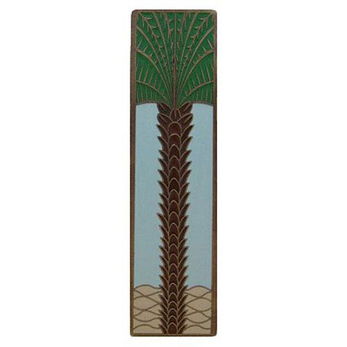 Notting Hill Decorative Hardware Antique Brass/Pale Blue (Vertical) Royal Palm Pull