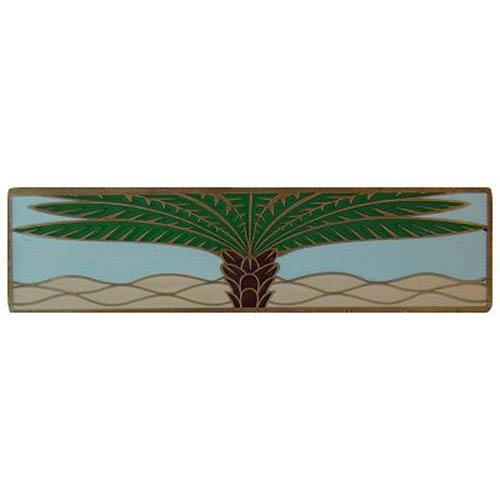 Antique Brass/Pale Blue (Horizontal) Royal Palm Pull