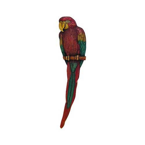 Hand Tinted Brass Parrot Pull-Right