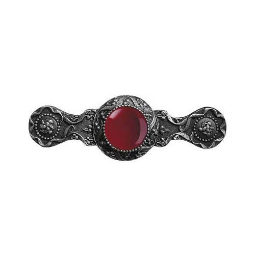 Antique Pewter Victorian Jewel Red Carnelian Pull