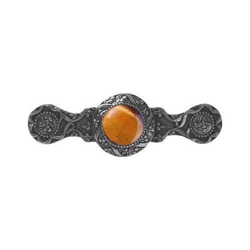 Brite Nickel Victorian Jewel Tiger Eye Pull