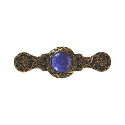 24 K Gold Plate Victorian Jeweled Pull with Blue Sodalite Stone