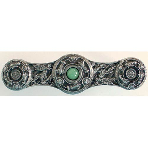Antique Pewter/Green Aventurine Natural Stone Jeweled Lily Pull