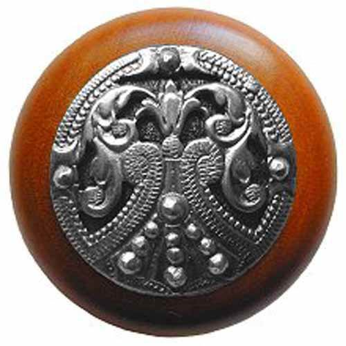 Cherry Wood Regal Crest Knob with Brilliant Pewter