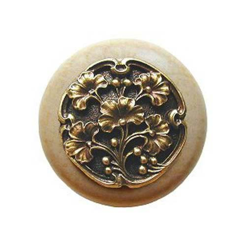 Notting Hill Decorative Hardware Natural Wood Gingko Berry Knob with Antique Brass