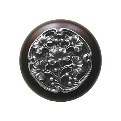 Dark Walnut Wood Ginkgo Berry Knob with Antique Pewter