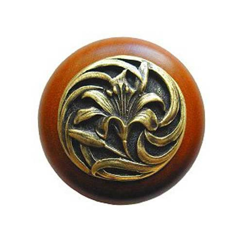 Cherry Wood Tiger Lily Knob with Antique Brass