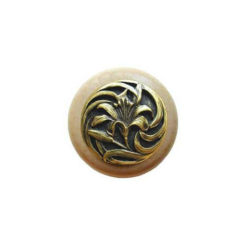 Natural Wood Tiger Lily Knob with Antique Brass