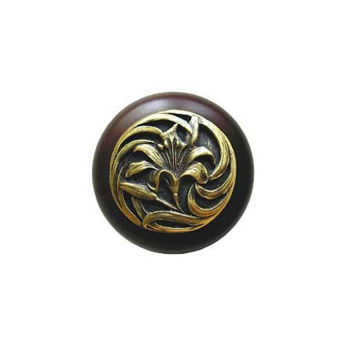 Dark Walnut Tiger Lily Knob with Antique Brass
