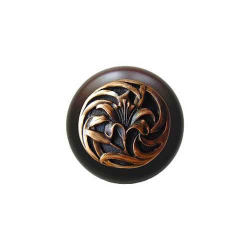 Dark Walnut Tiger Lily Knob with Antique Copper