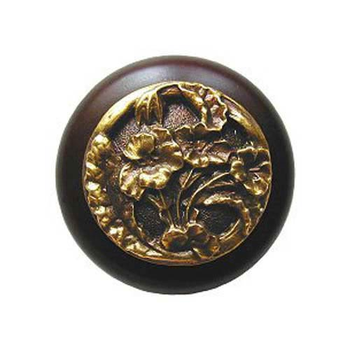 Notting Hill Decorative Hardware Dark Walnut Wood Hibiscus Knob with Antique Brass  sc 1 st  Bellacor & Hibiscus Cabinet Knob | Bellacor