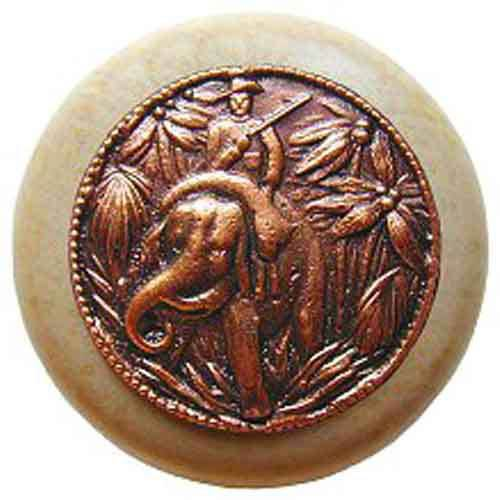 Natural Wood Jungle Patrol Knob with Antique Copper