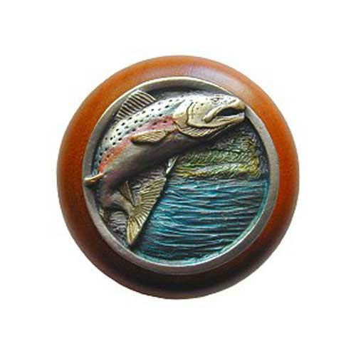 Cherry Wood Leaping Trout with Hand Tinted Pewter