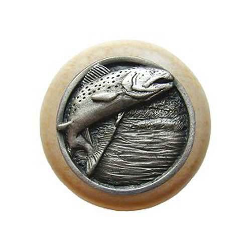 Natural Wood Leaping Trout Knob with Antique Pewter