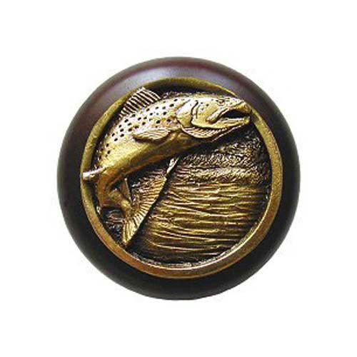Dark Walnut Wood Leaping Trout Knob with Antique Brass