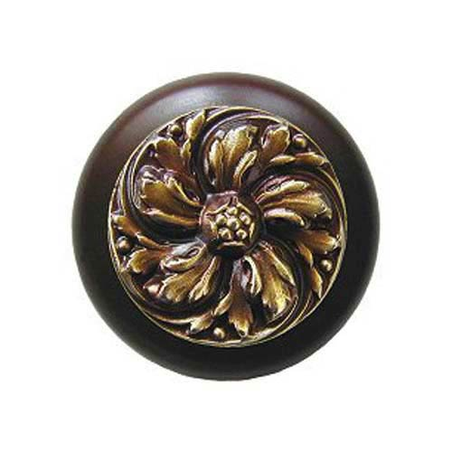 Dark Walnut Chrysanthemum Knob with Antique Brass