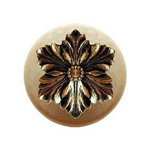 Notting Hill Decorative Hardware Natural Wood Opulent Flower Knob with Brite Brass