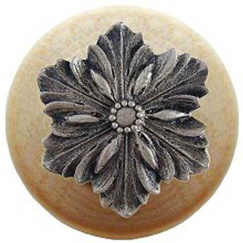 Natural Wood Opulent Flower Knob with Satin Nickel
