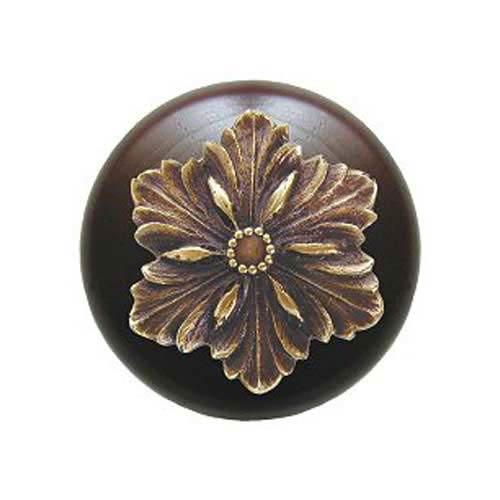 Dark Walnut Opulent Flower Knob with Antique Brass