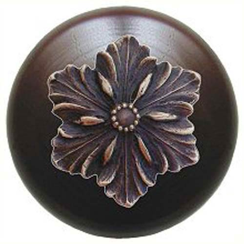 Dark Walnut Opulent Flower Knob with Antique Bronze
