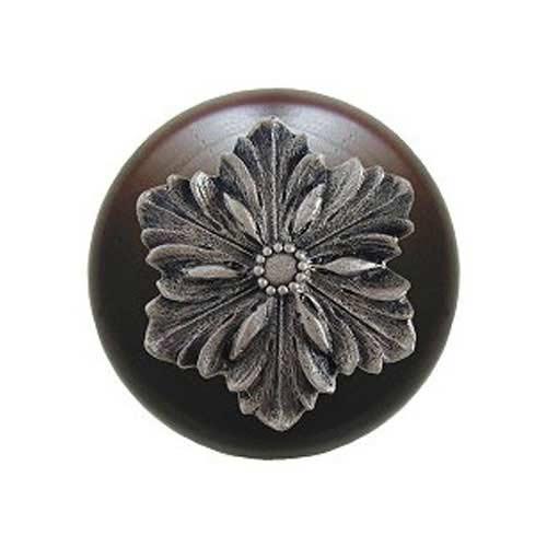 Dark Walnut Opulent Flower Knob with Satin Nickel