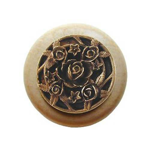 Natural Wood Saratoga Rose Knob with Brass