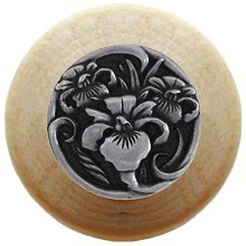Natural Wood River Iris Knob with Brilliant Pewter