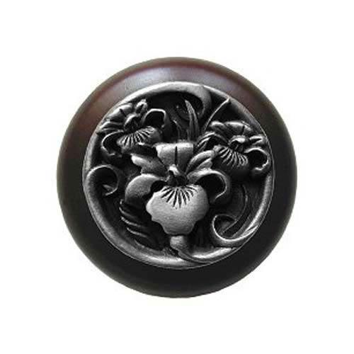 Dark Walnut River Iris Knob with Antique Pewter