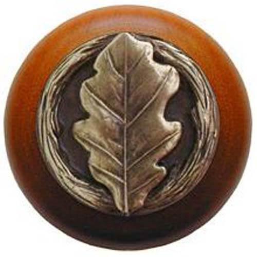 Cherry Wood with Antique Brass Oak Leaf Knob