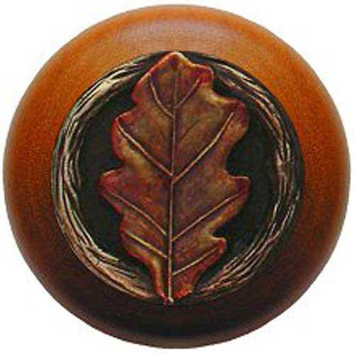 Cherry Wood with Hand Tinted Brass Oak Leaf Knob