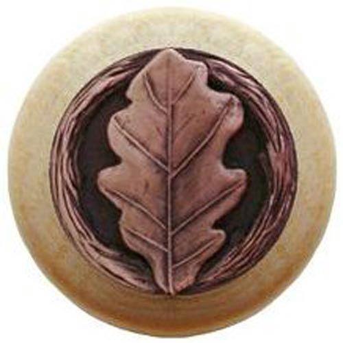 Natural Wood with Antique Copper Oak Leaf Knob