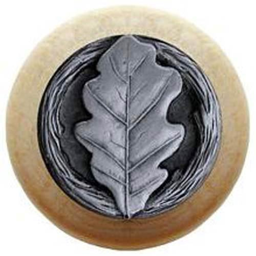 Natural Wood with Antique Pewter Oak Leaf Knob