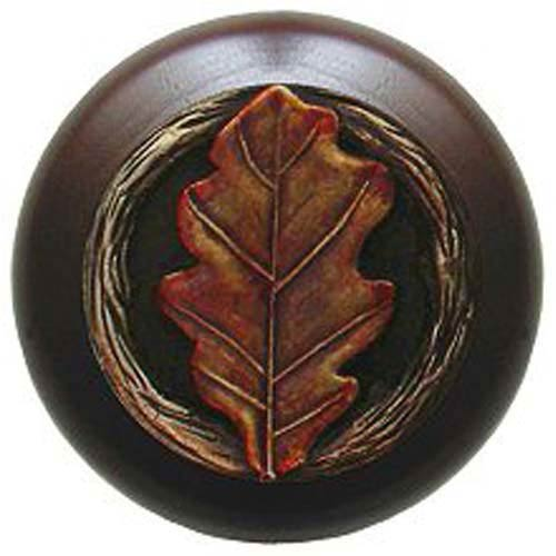 Dark Walnut with Hand Tinted Brass Oak Leaf Knob