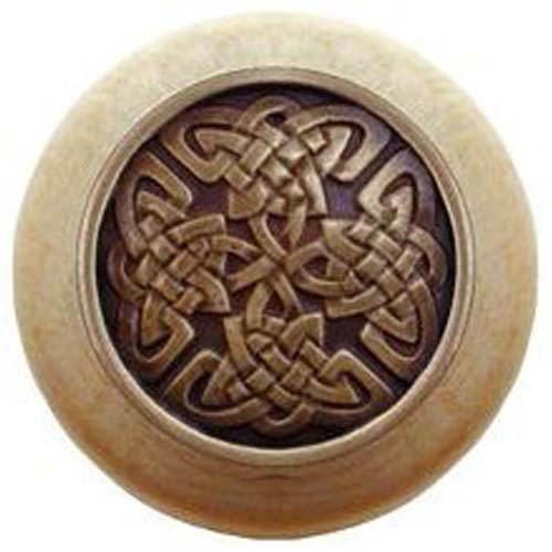 Natural Wood with Antique Brass Celtic Isles Knob