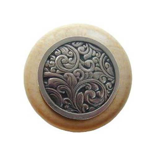 Natural Wood Saddleworth Knob with Brite Nickel
