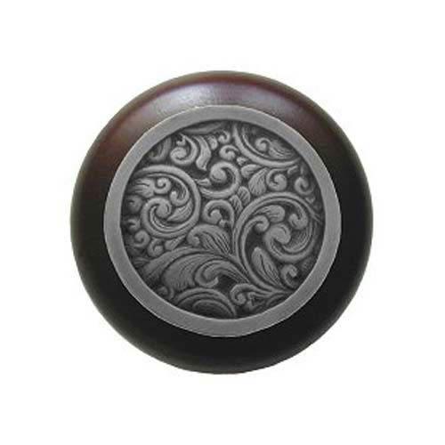 Dark Walnut Saddleworth Knob with Antique Pewter