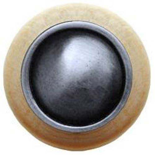 Natural Wood with Antique Pewter Plain Dome Knob