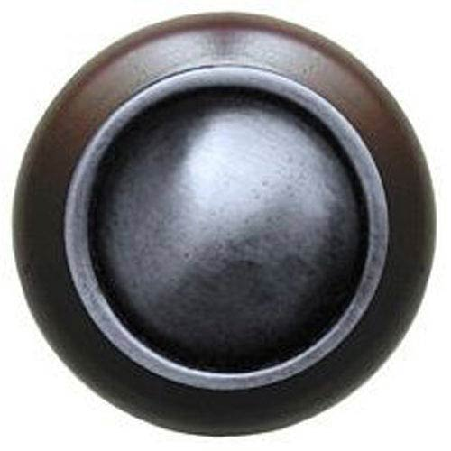 Dark Walnut with Antique Pewter Plain Dome Knob
