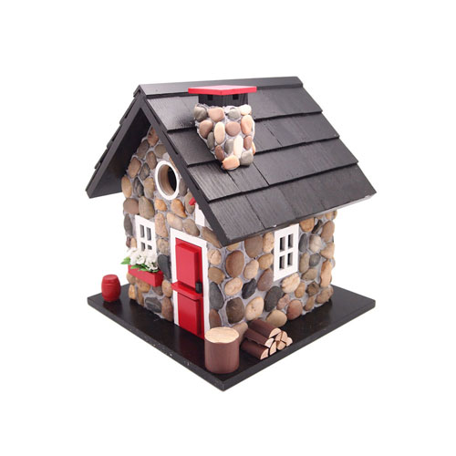 Cottage Charmer Series Stone/Red/Black Windy Ridge House Birdhouse