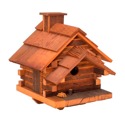 Conestoga Log Cabin Birdhouse (Medium) - Natural Cedar