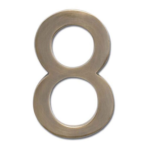 Four Inch Floating House Number Antique Brass 8