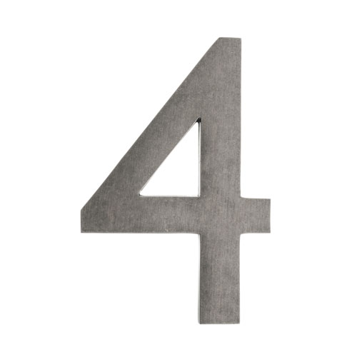 Four Inch Antique Pewter Address Number 4