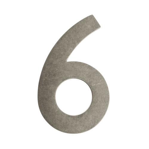 Four Inch Antique Pewter Address Number 6