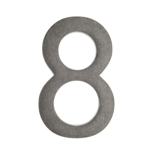 Four Inch Antique Pewter Address Number 8